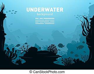 submarino, plano de fondo, ilustración