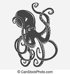 submarino, pulpo, negro, peligro, caricatura, curling, natación, tentáculos, caracteres