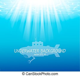 submarino, rayos de sol, plano de fondo, confuso
