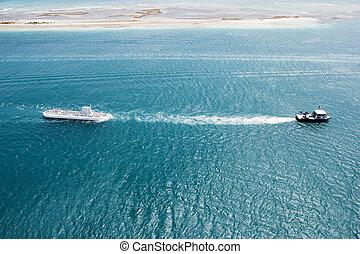 submarino, remolcar, tirón