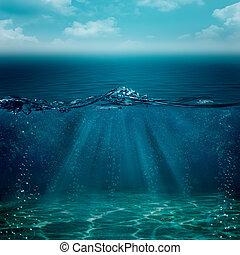 submarino, resumen, fondos, su, diseño