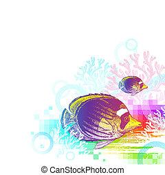 submarino, resumen, -, ilustración, mano, tropical, vector, mundo, dibujado, pez