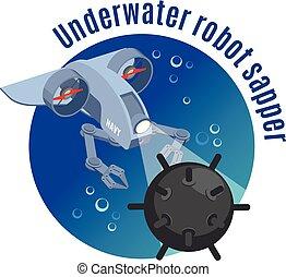 submarino, sapper, robot, plano de fondo, redondo