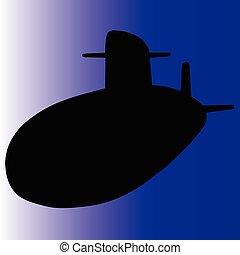 submarino, silhuetas, vetorial