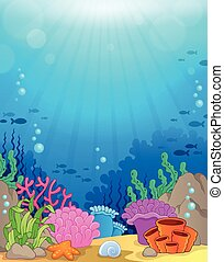 submarino, tema, 3, plano de fondo, océano