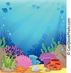 submarino, tema, 4, plano de fondo, océano