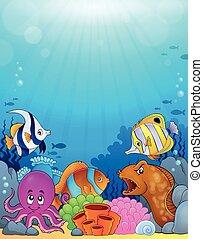 submarino, tema, 5, plano de fondo, océano