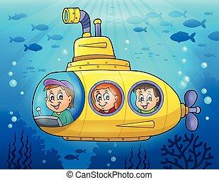 submarino, tema, imagen, 3