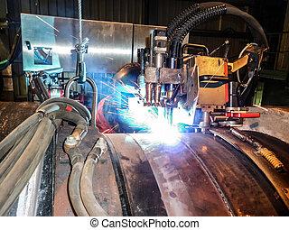 submarino, tubería, equipo, butt, utilizar, automático, ...