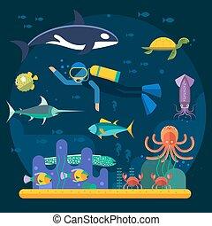 submarino, vector., jardín, superficie, juego, pez, plano de...