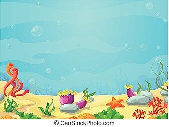 submarino, vector, mundo, mar, estrellas de mar, ilustración, azul