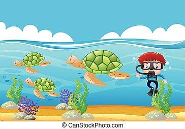 submarino, zambullidor de la escafandra autónoma, tortugas, ...