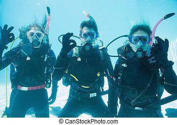 submergé, natation, scaphandre, piscine, regarder, amis, ...