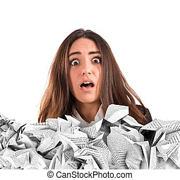 Submerged by the working documents - Shocked businesswoman...