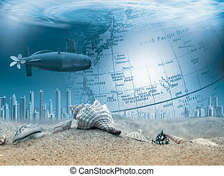 Submerged submarine in the ocean travels