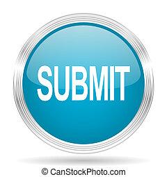 submit blue glossy metallic circle modern web icon on white...
