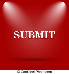 Submit icon. Flat icon on red background.