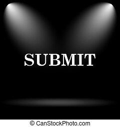 Submit icon. Internet button on black background.
