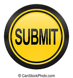 submit icon, yellow logo,