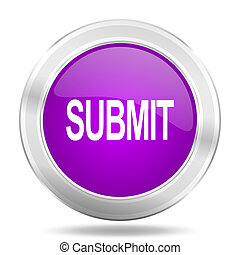 submit round glossy pink silver metallic icon, modern design web element