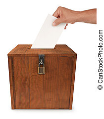 Submitting a Vote - A man\\\'s hand putting an envelope in...