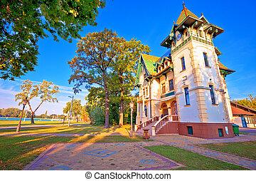 subotica, 湖, 歴史的, 建築, 水辺地帯, palic, 光景