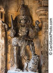 subrahmanya, dvarapala, imagen, thanjavur, brihadishvara, shrine., templo, koshtha, tamil nadu