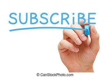 subscrever, azul, marcador