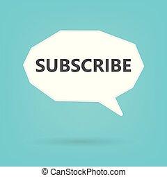 subscrever, palavra, ligado, borbulho fala