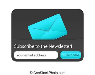 subscrever, para, newsletter, forma, com, envelope azul