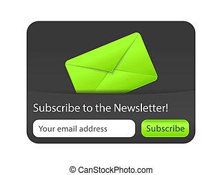subscrever, para, newsletter, forma, com, verde, envelope