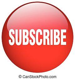 subscrever, vermelho, redondo, gel, isolado, empurre botão