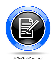 subscribe blue and black web glossy round icon