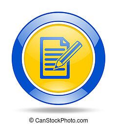 subscribe blue and yellow web glossy round icon