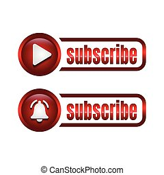 Subscribe red button with click cursor icon design. Subscribe button icon in trendy flat style design. Vector illustration.