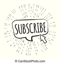subscribe button with cursor, cool doodle vector illustration