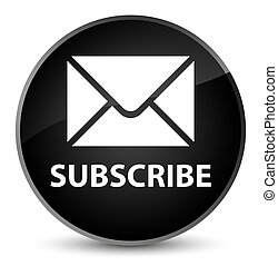 Subscribe (email icon) elegant black round button