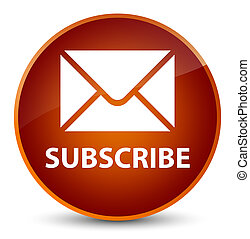 Subscribe (email icon) elegant brown round button