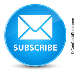 Subscribe (email icon) elegant cyan blue round button