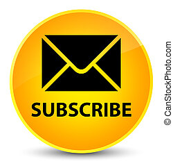 Subscribe (email icon) elegant yellow round button