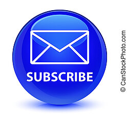 Subscribe (email icon) glassy blue round button
