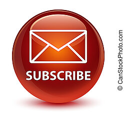 Subscribe (email icon) glassy brown round button
