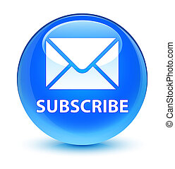 Subscribe (email icon) glassy cyan blue round button