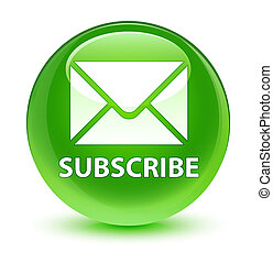 Subscribe (email icon) glassy green round button