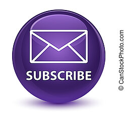 Subscribe (email icon) glassy purple round button