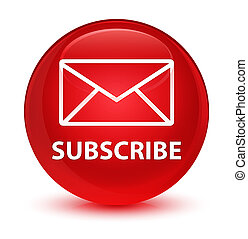 Subscribe (email icon) glassy red round button