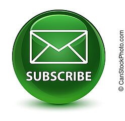 Subscribe (email icon) glassy soft green round button