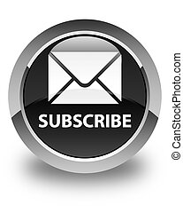 Subscribe (email icon) glossy black round button