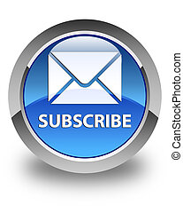 Subscribe (email icon) glossy blue round button