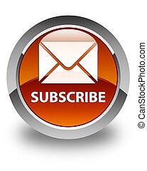 Subscribe (email icon) glossy brown round button